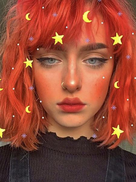 Milanoo Lolita Pelucas Cortas Fibra resistente al calor Rizado Oragnge Rojo Lolita Pelucas de cabello