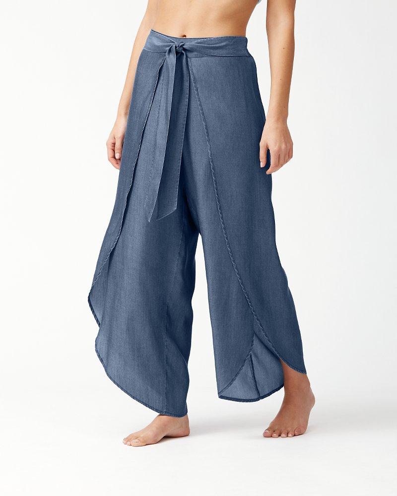 Chambray Wrap-Front Beach Pants