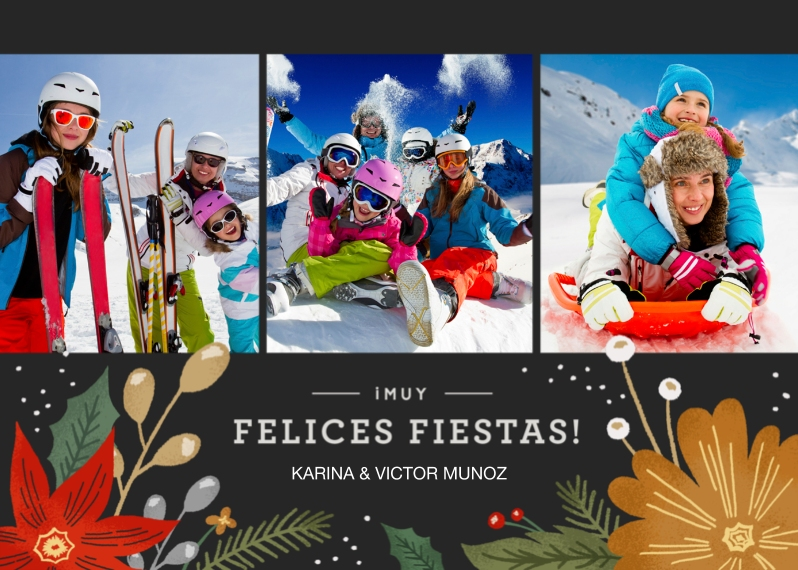 Christmas Photo Cards 5x7 Cards, Premium Cardstock 120lb with Rounded Corners, Card & Stationery -Felices Fiestas Floral