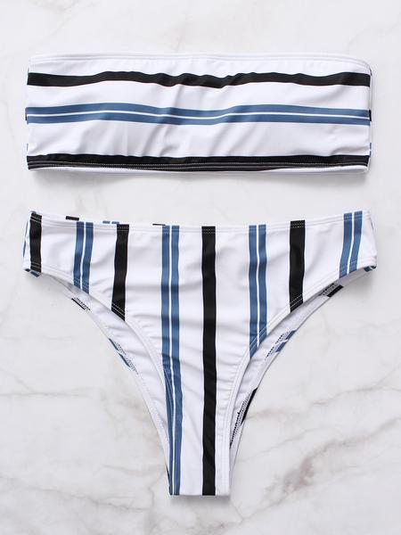 Yoins White Stripe High Waist Bandeau Bikini