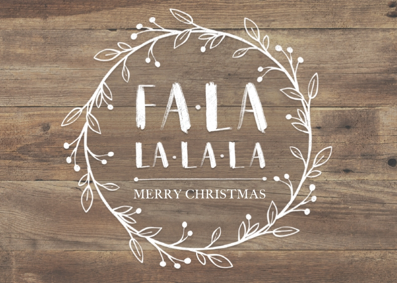 Holiday Photo Cards 5x7 Folded Cards, Premium Cardstock 120lb, Card & Stationery -Falalala Wreath