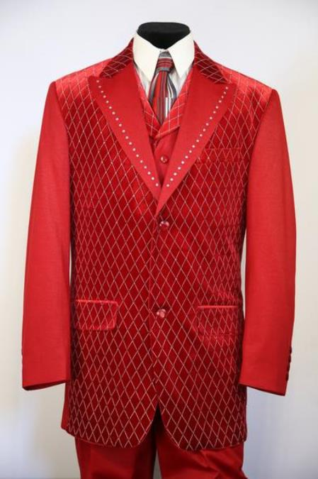 Mens Peak Lapel Velvet Diamond Pattern Zoot Suit Red
