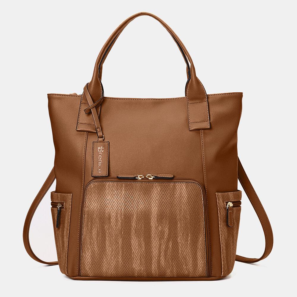 Women Multifunction Large Capacity Handbag Patchwork Backpack