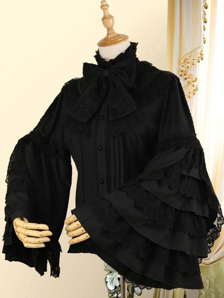 Milanoo Classic Lolita Shirt Bow Lace Layered Ruffle Chiffon White Lolita Blouse