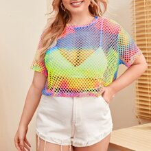 Plus Tie Dye Fishnet Sheer Top Without Bra