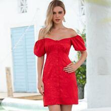 D&M Jacquard Satin Button Front Bardot Dress