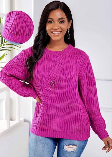 Trendy Round Neck Long Sleeve Rose Red Sweater - XL