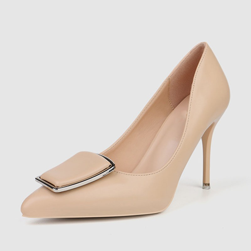 Ericdress Plain Pointed Toe Stiletto Heel Slip-On Pumps