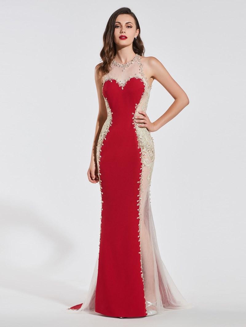 Ericdress Scoop Necl Applique Backless Mermaid Evening Dress