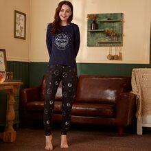 Slogan And Galaxy Print Pajama Set