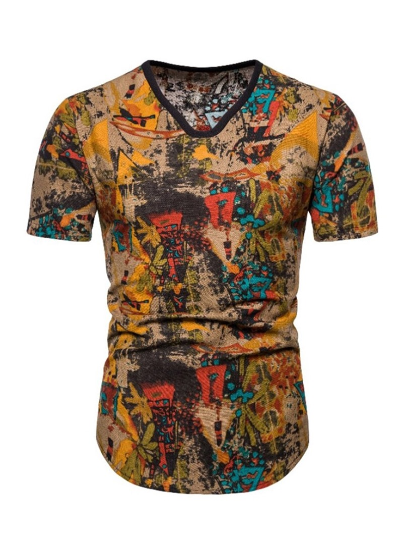 Ericdress V-Neck Casual Color Block Pullover Men''s Short Sleeve T-shirt