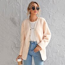 Press Button Front Teddy Coat