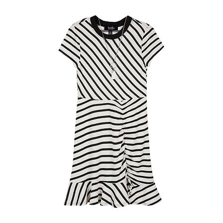 by&by girl Big Girls Short Sleeve Striped T-Shirt Dress, Large , White