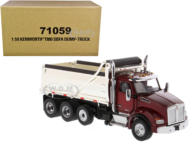Kenworth T880 SBFA Dump Truck Radiant Red and Chrome 1/50 Diecast Model by Diecast Masters