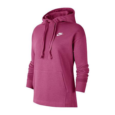 Nike Womens Hooded Neck Long Sleeve Hoodie, Large , Pink