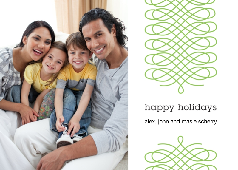 Holiday Photo Cards 5x7 Cards, Premium Cardstock 120lb with Elegant Corners, Card & Stationery -Ribbon Happy Holidays