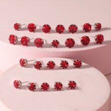 12pairs Girls Rhinestone Decor Stud Earrings