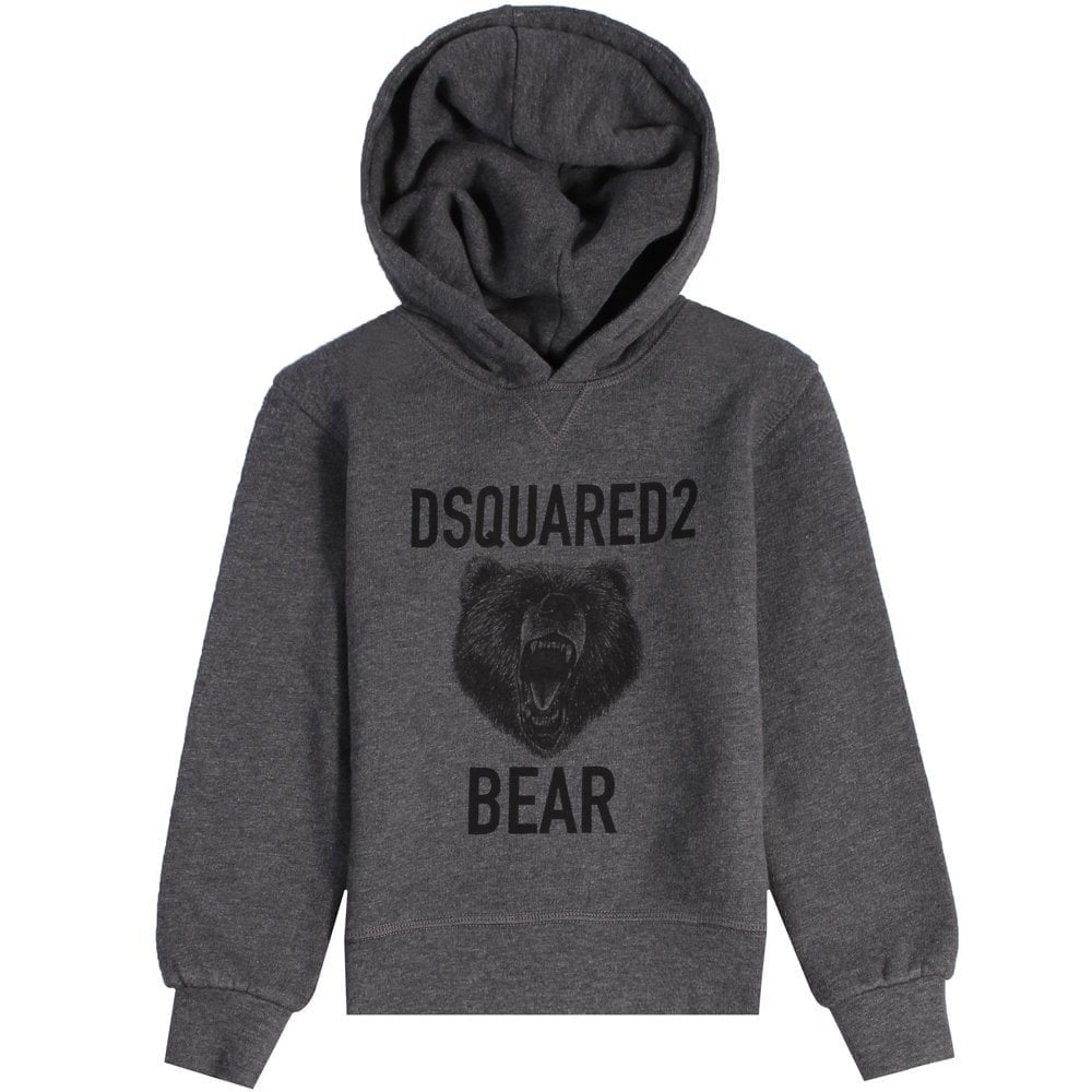 Dsquared2 Kids Bear Print Hoodie Dark Grey  Colour: GREY, Size: 10 YEARS