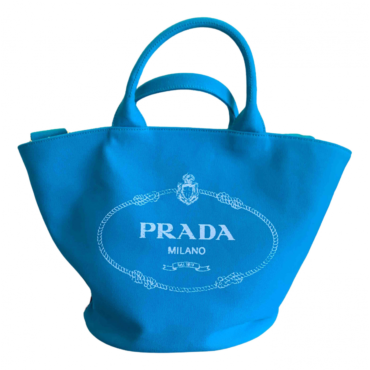 Prada - Sac a main   pour femme en toile - turquoise