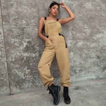Pocket Front Zip Detail Overall Jumpsuit