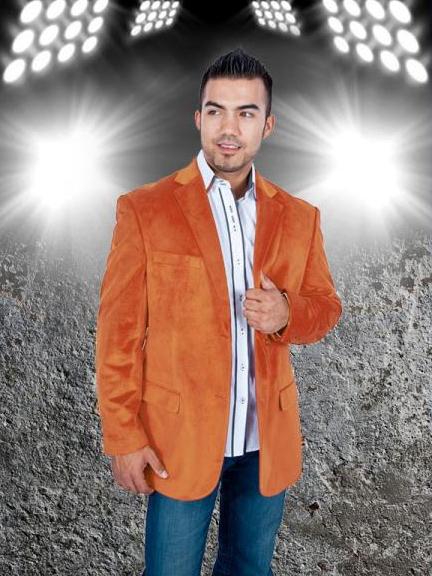 2 Button Sport Jacket Orange Velvet / Velour Sport coat Blazer