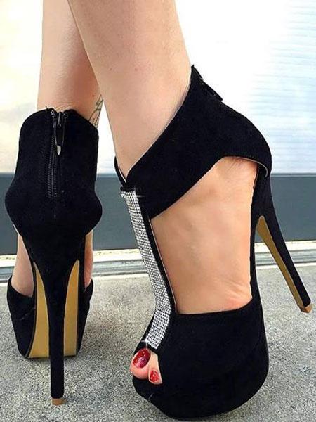 Milanoo Black Sexy Shoes High Heel Sandals Peep Toe Platform T Type Rhinestones Sandal Shoes For Women