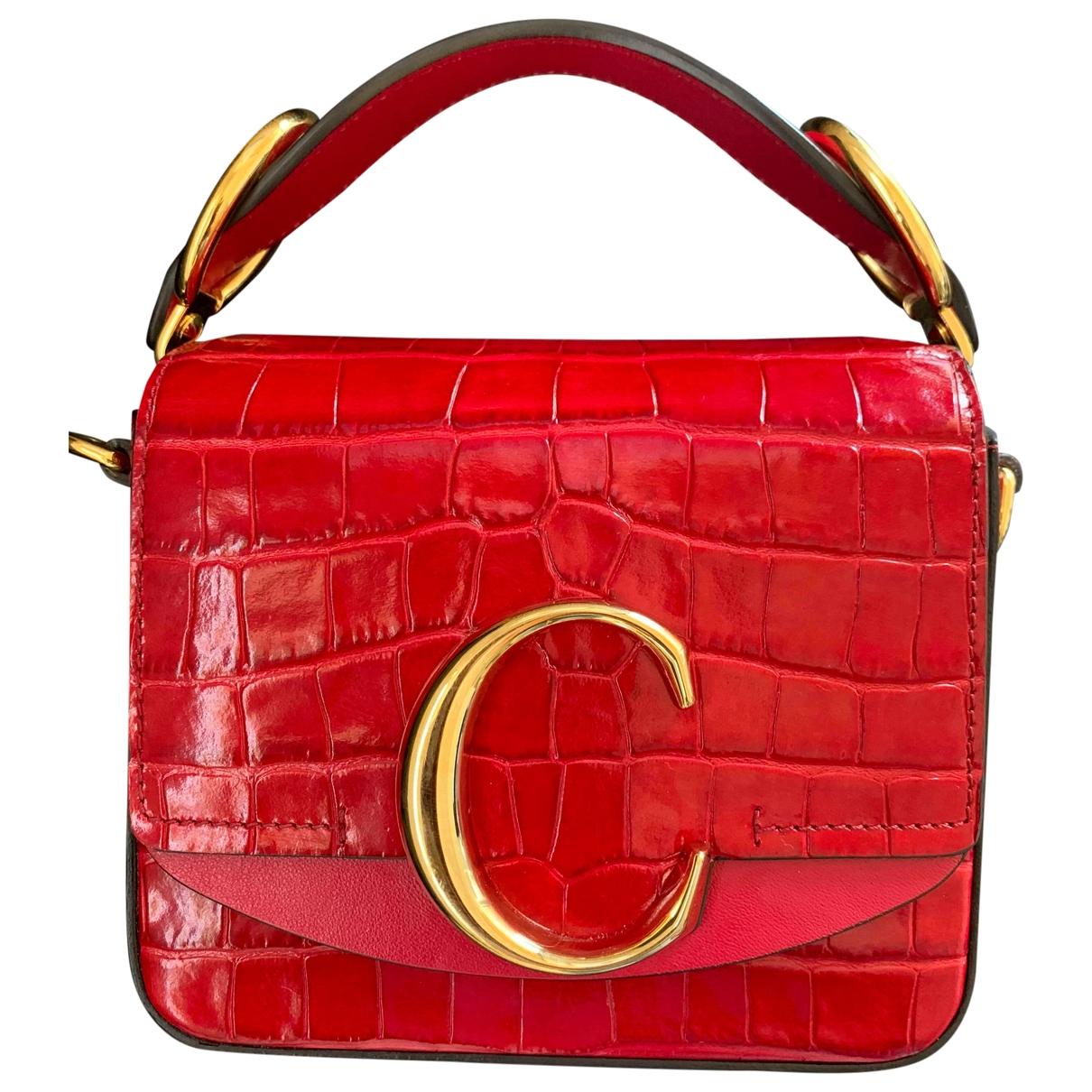 Chloe - Sac a main C pour femme en cuir verni - rouge