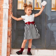 Toddler Girls Contrast Striped Belted Dress