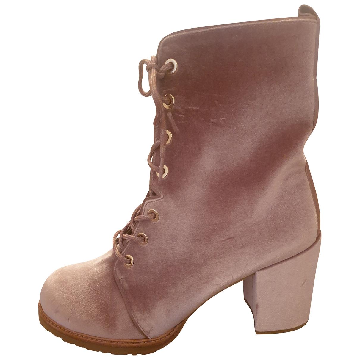 Stuart Weitzman - Boots   pour femme en velours - rose