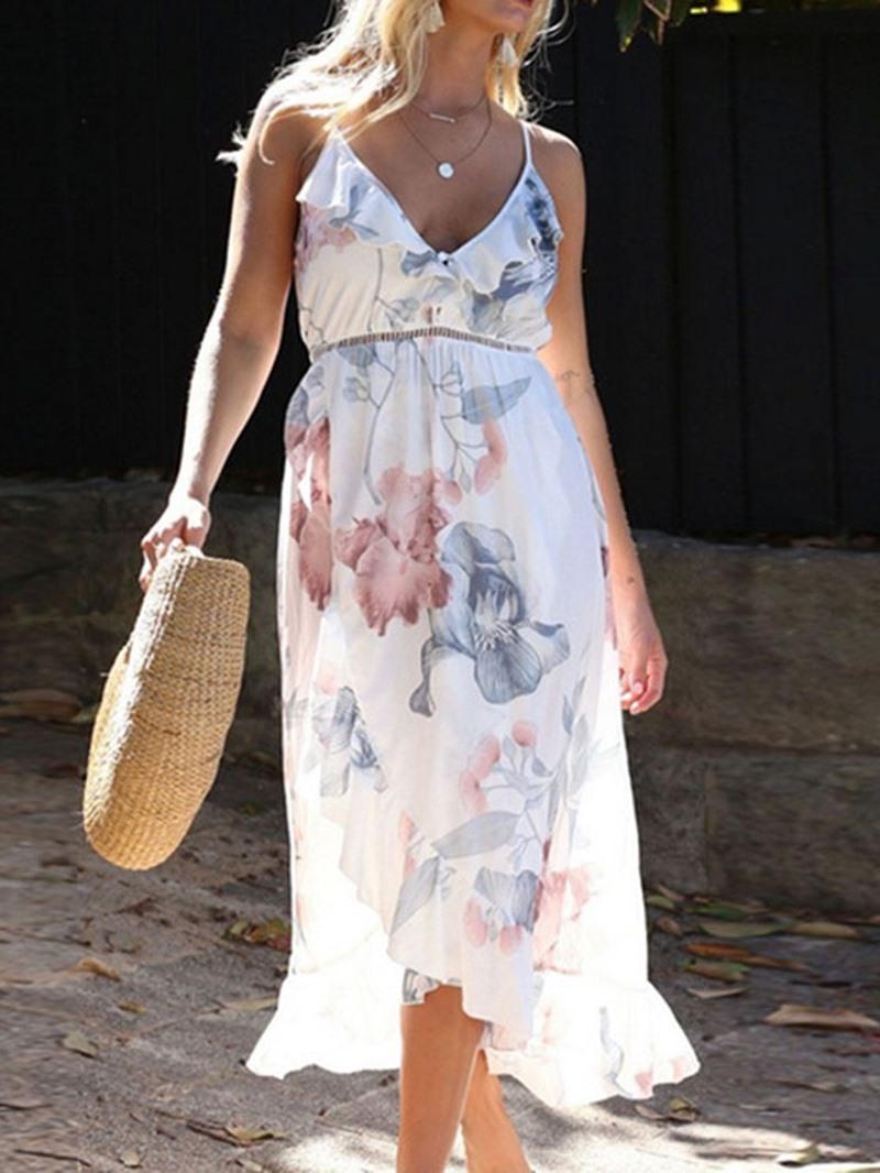 Ericdress V-Neck Asymmetrical Floral Print Spaghetti Strap Dress