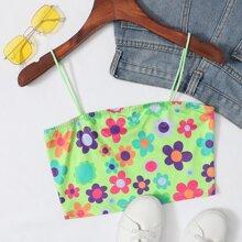 Floral Print Crop Cami Top