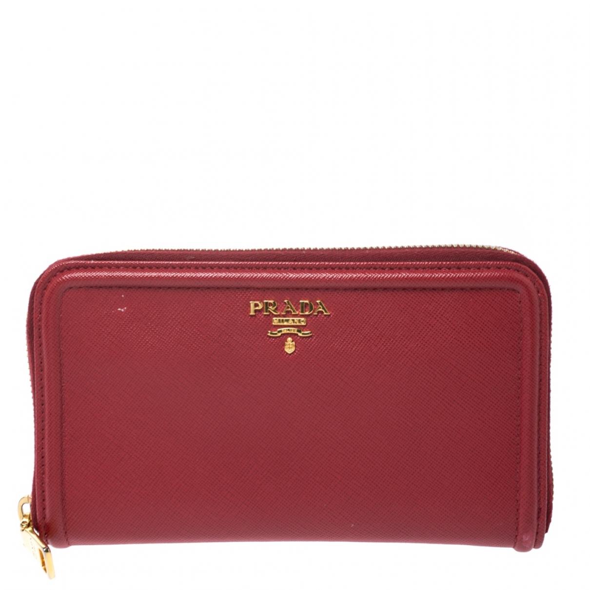 Prada - Portefeuille   pour femme en cuir - rouge