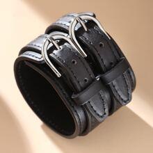 Men Double Buckle Decor Bracelet
