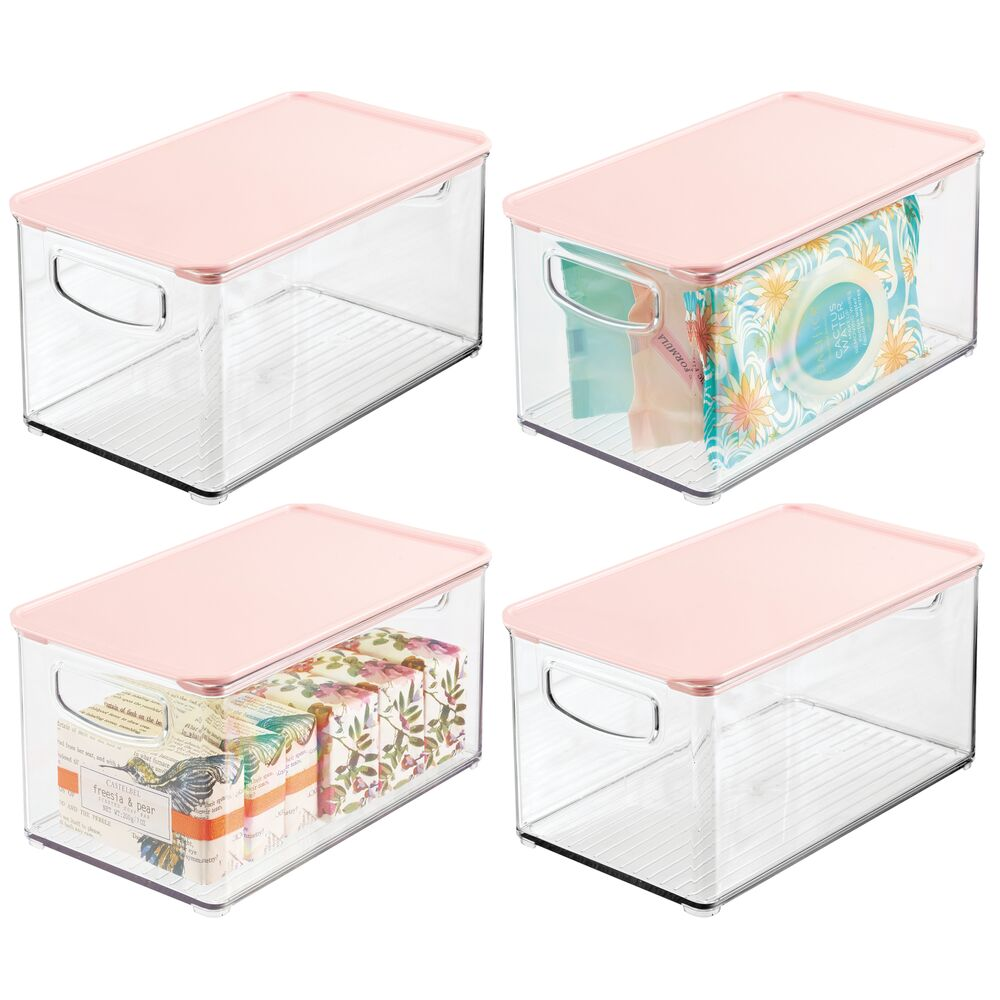 Clear Plastic Bathroom Storage Containers with Hinged Lid - Pack of in Clear/Pink, by mDesign