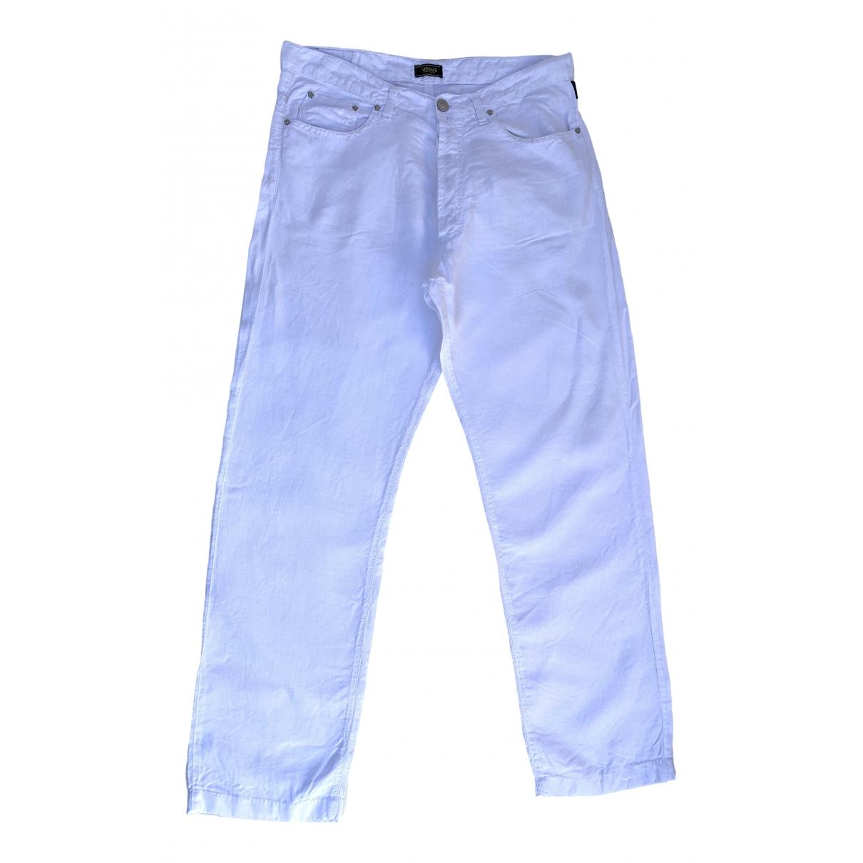 Versace Jeans \N White Linen Trousers for Men 34 UK - US