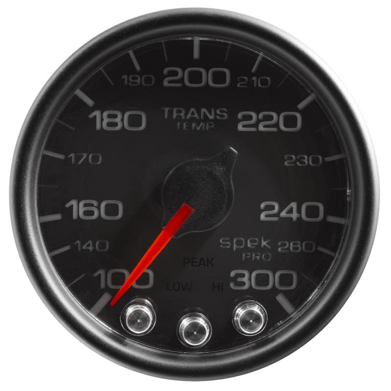 AutoMeter GAUGE; TRANS TEMP; 2 1/16in.; 300deg.F; STEPPER MOTOR W/PEAK/WRN; BLK/BLK; SPEK-