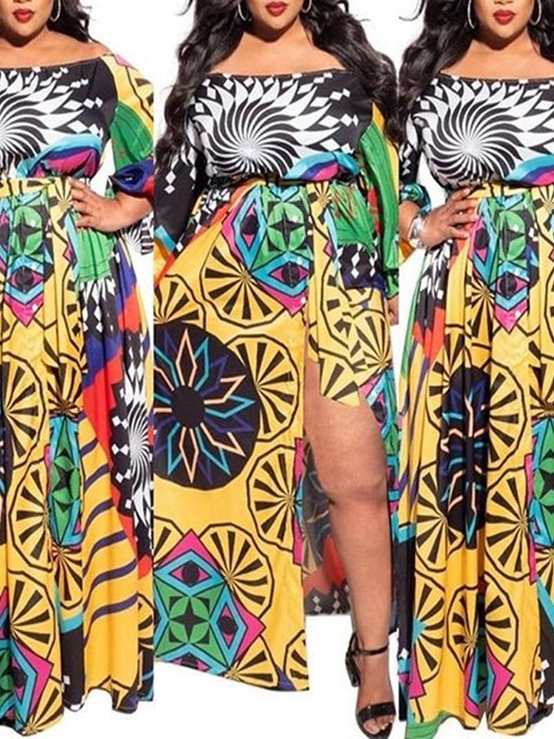 Ericdress Floor-Length Long Sleeve Print Pullover Cold Shoulder Dress