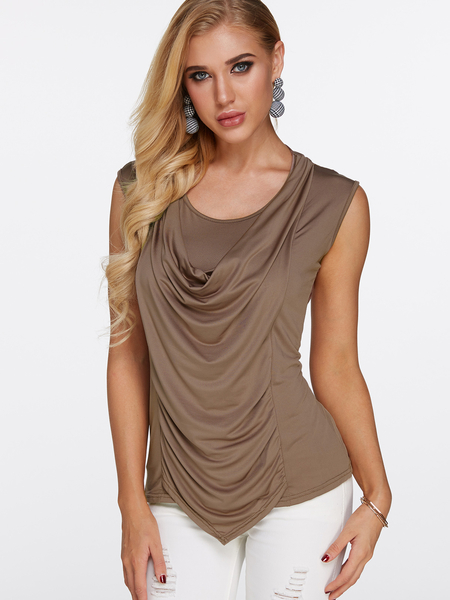 Yoins Khaki Pleated Design Lace Up Detail Scoop Neck Cap Sleeves T-shirts