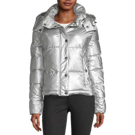 BCBGMAXAZRIA Hooded Midweight Puffer Jacket, Medium , Silver