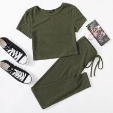 Rib-knit Tee & Tie Waist Leggings Set