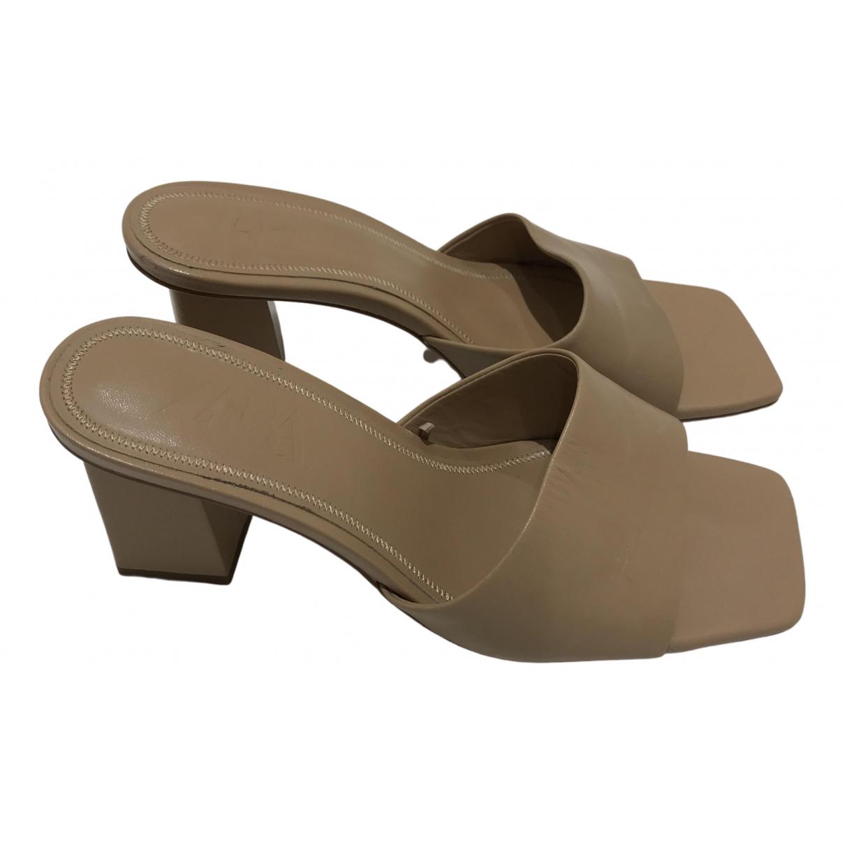 Zara - Sandales   pour femme en cuir - beige
