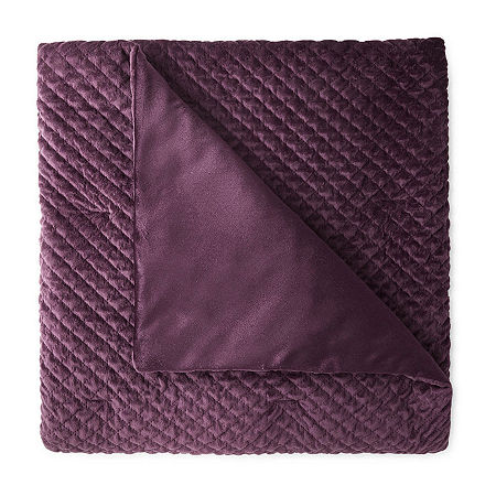JCPenney Home Quilted Diamond Ruched Throw, One Size , Purple