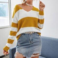 V-neck Drop Shoulder Colorblock Sweater