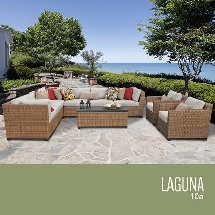 LAGUNA-10a-BEIGE Laguna 10 Piece Outdoor Wicker Patio Furniture Set 10a with 2 Covers: Wheat and