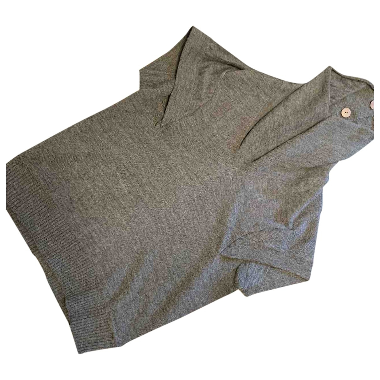 Non Signé / Unsigned Oversize Grey Wool Knitwear for Women L International