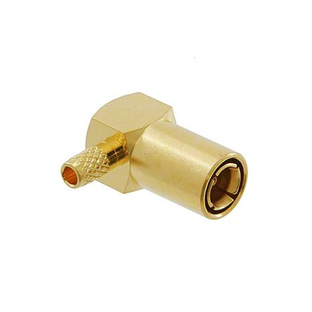 Cinch Connectors , Mini-SMB Right Angle 75Ω Cable Mount Coaxial Connector, Plug, Gold over Nickel over Copper, Crimp