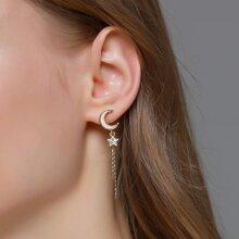 Star Moon Decor Long Strip Drop Earrings