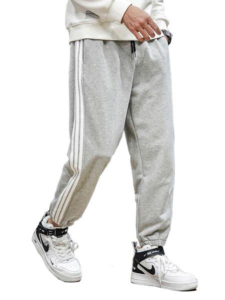 Milanoo Pants For Men Chic Natural Waist Straight Sweatpants Grey Men\'s Pants