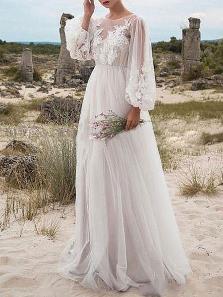 Milanoo Simple Wedding Dress A Line Tulle Jewel Neck Long Sleeves Lace Bridal Dresses
