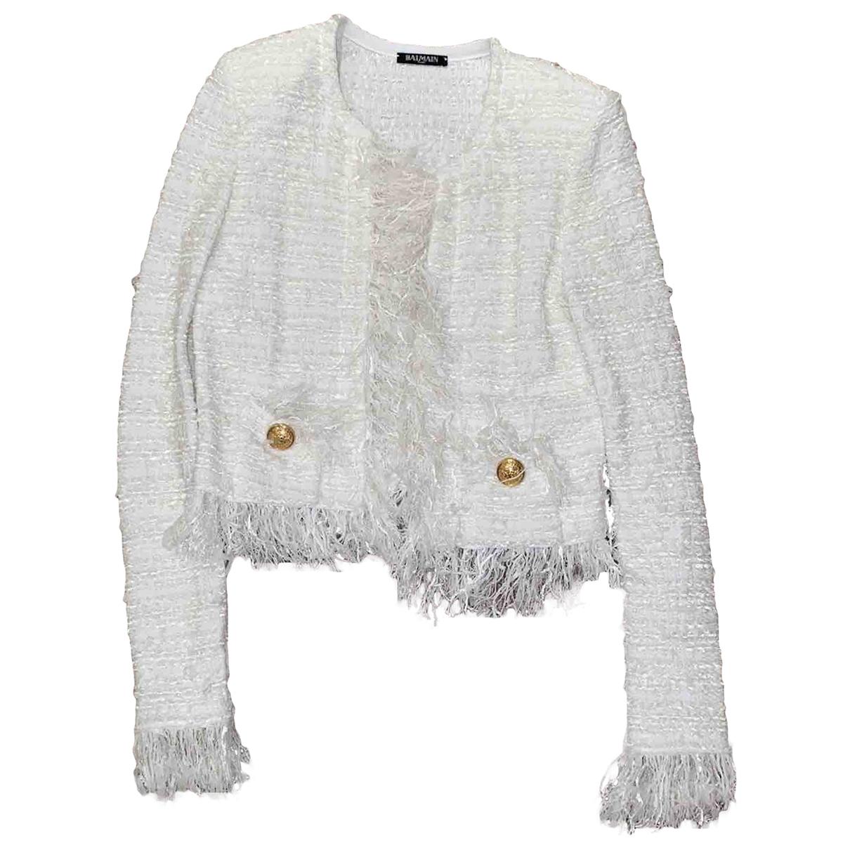 Balmain \N White Cotton jacket for Women 38 FR